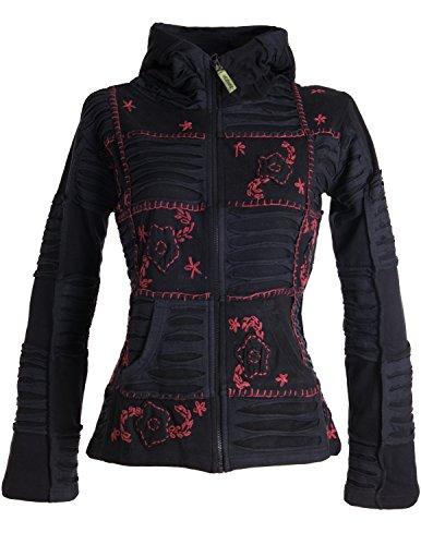 Vishes – Alternative Bekleidung – Mit Blumen bestickte Patchwork Jacke aus Baumwolle, mit Zipfelkapuze schwarz-dunkelrot 36