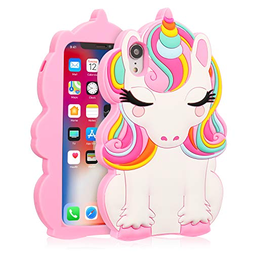 Coralogo for iPhone XR Case, 3D Cute Cartoon Fun Funny Silicone Character Shockproof Kawaii Fashion Animal Colorful Design Designer Skin Cover Cases for Girls Teens Kids iPhone XR 6.1 (Color Unicorn)