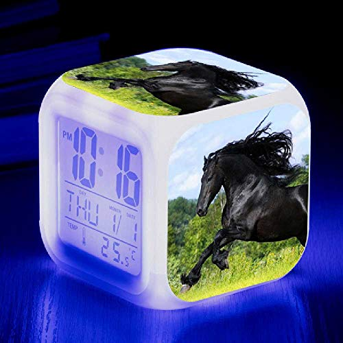 HUA-Alarm clock Liefern Tier Pferd Farbe Farbe Kreative Neue Kleine Wecker, Um Die Benutzerdefinierte LED Elektronische Alarm Zu Kartieren 8X8cm/ Nummer 8