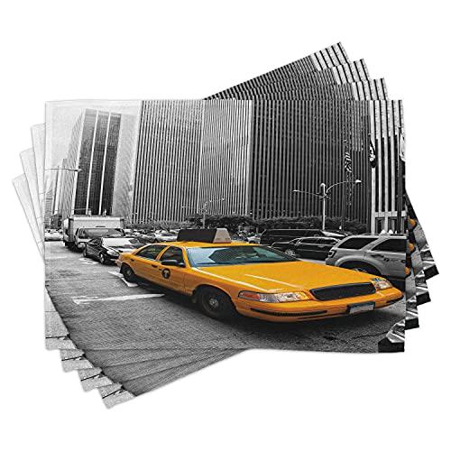 ABAKUHAUS Stad bordsmattor, Yellow Cab i New York City turistattraktioner trafik gata fotografi, tiscjdeco gjord av färgat tyg för matsal och kök, ringblomma svart grå