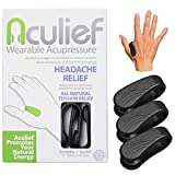 Aculief Wearable Acupressure for Headache and Migraine Relief, All-Natural Muscle Pain and Tension Relief, Travel-Friendly to Support Acupressure Relaxation, 3 Pack (Black)