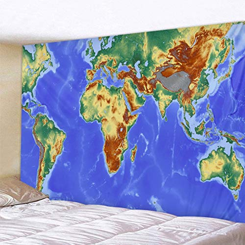 N/A Impresión 3D de tapices Tapiz de Mapa del Mundo con Estampado de Estilo nórdico, Toalla de Playa de poliéster para Pared, Manta Fina de poliéster, mantón de Yoga, Esterilla