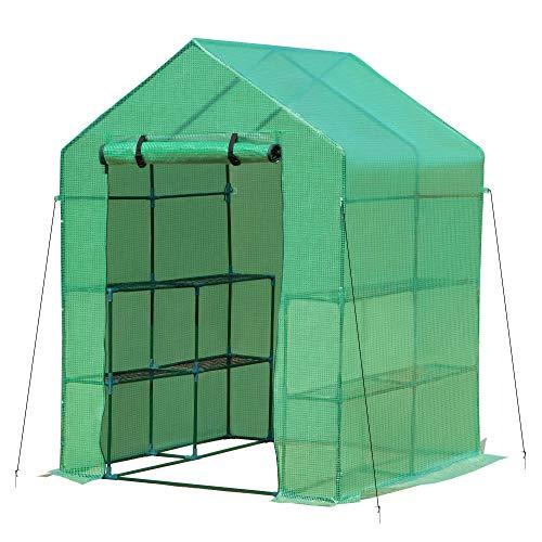 Outsunny Gewächshaus Treibhaus mit Blumenregal Frühbeet Tomatenhaus Pflanzenhaus für Garten, aus Stahlrohl und PE-Gewebe, Grün, 140x140x190 cm