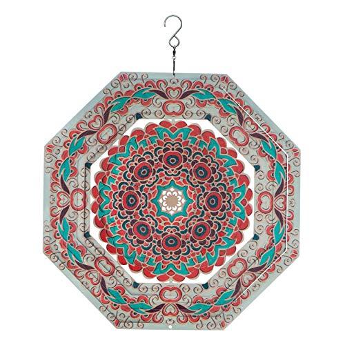 Spin Art Premium Mandala octogonale multicolores à vent (30,5cm)