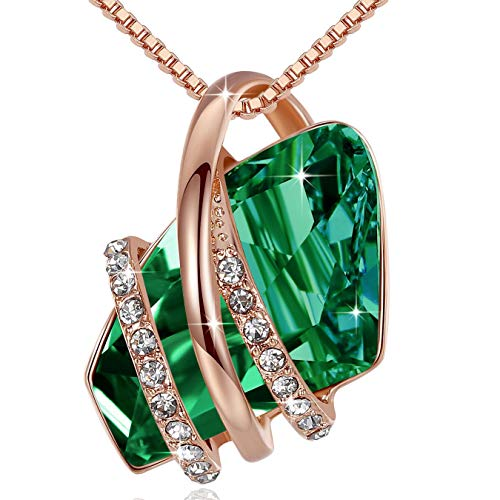 """Leafael Mother's Day Gifts Wish Stone 18K Rose Gold Plated Crystal Pendant Necklace Emerald Green May Birthstone, 18""""+ 2"""""""