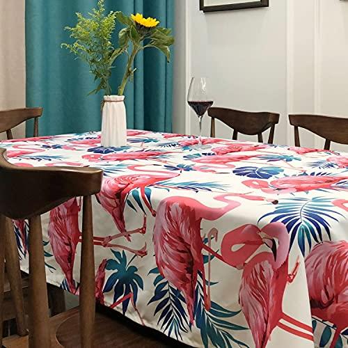 Mantel de Planta Tropical Flamingo Rectangular Hoja de Palmera Cubierta de Mesa de Comedor Mantel Decorativo Moderno Textiles para el hogar V 140x220cm