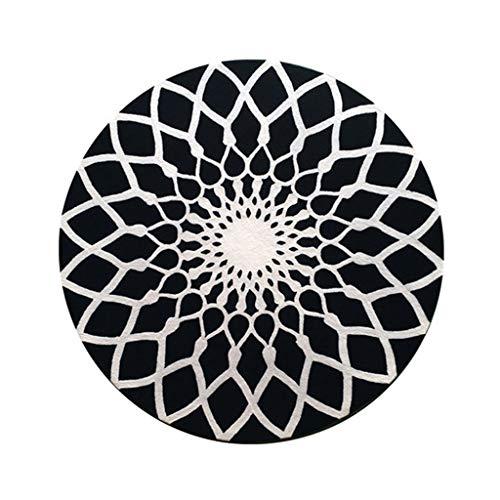 Imported Wollteppich Bodenmatte Rundes schwarzes Muster einfacher und großzügiger Teppich Moderner europäischer Wohnzimmer-Couchtisch Schlafzimmer Wollteppich ( Color : BLACK , Size : 2.2M )