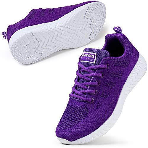 STQ Damen Sneaker Atmungsaktiv Turnschuhe Laufschuhe Leichte Fitness Gym Outdoor Sportschuhe Alles Lila 38 EU