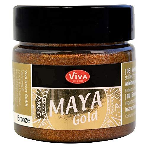Viva Decor®️ Maya Gold (Bronze, 45 ml) Acrylfarbe mit Metallic Effekt - Malfarbe - Acryl Farben für Holz, Pappe, Beton, Papier, Leinwand UVM.