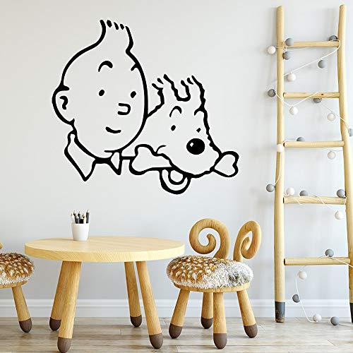 TYLPK 3d Die Abenteuer von Tim und Struppi Wandkunst Aufkleber Wandaufkleber Wandbild Pvc Wandtattoos Zimmer Dekoration Schwarz XL 57 cm X 61 cm