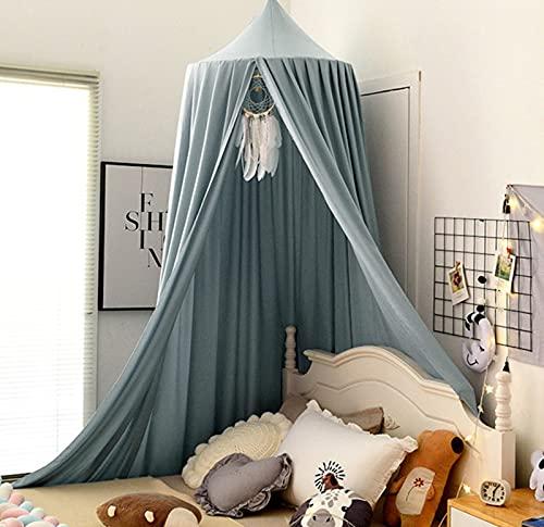 Betthimmel Babybett, Kinder Moskitonetz Spitze Baldachin, Mädchen Prinzessin Baumwolle Bettvorhang für Spiel Lesen Schlafzimmer Ankleidezimmer (Hellgraublau)