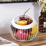 ECSWP KDSGP Hierro Metal Hueco Placa Fruta Creativa Bola Forma Sala de Estar casa Almacenamiento Cesta encimera Vegetales Fruta sirviendo tazón (Color : B)