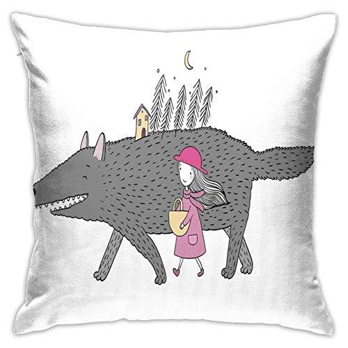 baoan Funda de almohada para cojín con diseño de niña en un rosa Dr Walking con un bosque gigante de abeto y una casa pequeña, 45,7 x 45,7 cm