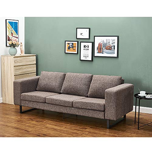 Panana Polyester Linen Fabric Sofa with Iron Feet Modern Soft Corner Couch Settee for Lounge Living Room (Brown, 3 Seater)