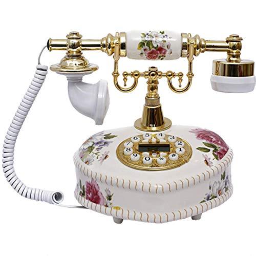 Teléfono Retro Teléfono Antiguo Teléfono Antiguo Europeo Botones de cerámica Dial Decoraciones de Oficina en casa - Blanco