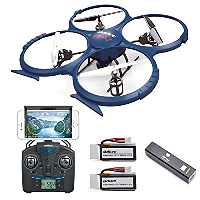 * Latest Model * UDI U818A WiFi FPV RC Quadcopter Drone with HD Camera RTF - VR Headset Compatible - Headless Mode, Low Voltage Alarm, Gravity Induction - Includes BONUS BATTERY + Power Bank (Quadruples Flying Time) - FAA Registration NOT Required by UDI