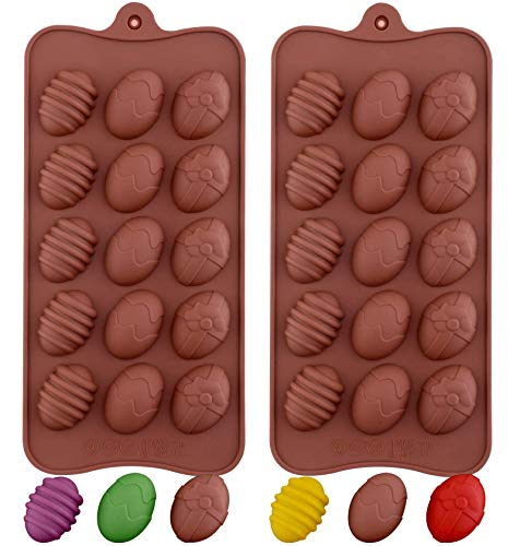 Amurgo 2 Pieces Easter Egg Chocolate Mold Easter Egg Shape Silicone Baking Molds for Candy Gummy Cookie Cake Decoration Party Jelly Soap Ice Cube