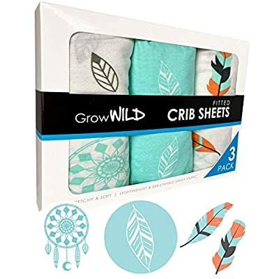 GROW WILD Crib Sheets for Boys or Girls   3 Pack Soft Jersey Cotton Fitted Crib Sheets   Teal White Baby Crib Sheets for Girl, Crib Mattress Sheet or Toddler Bed Sheets. Boho Feathers & Dreamcatchers