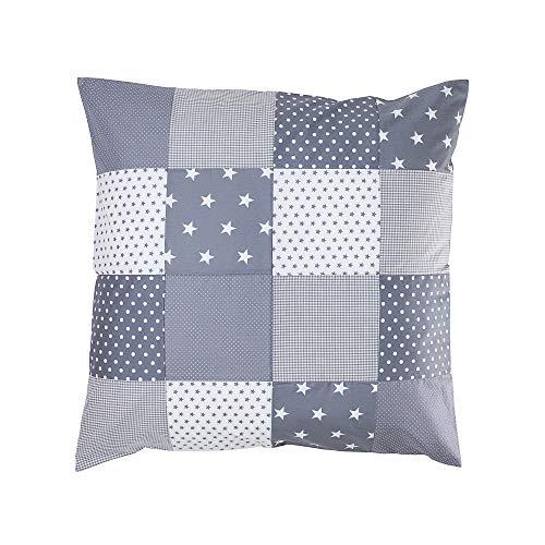ULLENBOOM ® Baby Bezug 80x80 cm für Bettdecke & Kissen Graue Sterne (Made in EU) - Bezug aus Baumwolle für Babybettwäsche oder als Kissenbezug, ideal im Kinderwagen