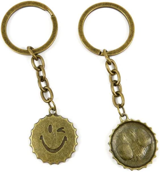 100 Items Keychain Keyring Key Tags Chains Rings Jewelry Bag Charms N0UD2 Smiley Face Bottle Cap