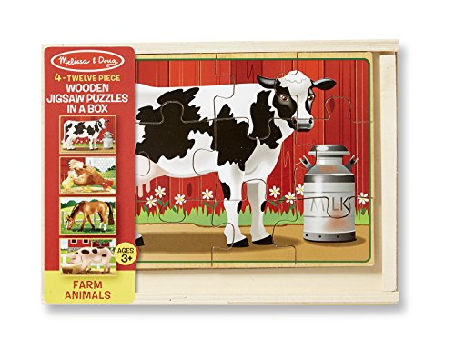 Melissa & Doug Wooden Jigsaw Puzzles in a Box - Farm