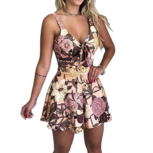 Elecenty Damen Partykleid Schulterfrei Sommerkleid Blumen Drucken Kleider Frauen Mode Kurzarm Knielang Kleid Minikleid Strandkleid Kleidung Cocktailkleider Abendkleider