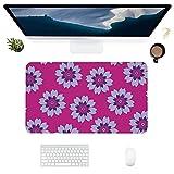 HUBNYO Alfombrilla de escritorio de piel rosa con superficie lisa, fácil de limpiar, resistente al agua, protector de escritorio para oficina/juegos en casa