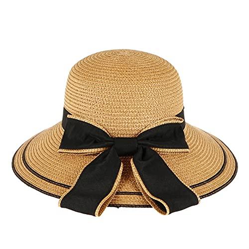 zunruishop Sombrero de navegante Sombrero de Paja para Mujer Sombreros de Verano Damas Ancho ala platona Playa protección UV protección para Mujer Sombrero de Sol Sombrero de Paja