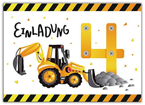 12 Einladungskarten zum 4. vierten Kindergeburtstag Jungen Baustelle Bagger