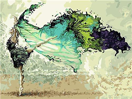 Bailarín (16x20 Pulgadas Sin Marco) Pintar por números para Adultos y niños Lienzos para Pintar por número con Pinceles y Colores Brillantes DIY Pintura al óleo Kit Regalo