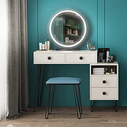 LVSOMT Makeup Vanity Desk Set with Round Mirror and Dimmable LED Lights, Dressing Table w/Storage Cabinet, Drawers, Cushioned Stool, 3 Color Lighting Modes & Touch Screen, Bedroom Furniture (White)