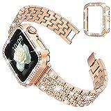 wlooo Glitter Diamant Bracelet avec Coque pour Apple Watch 44mm 42mm 40mm 38mm, Bling Hommes Femmes Cristal Strass Acier Inoxydable Métal Bracelet de Remplacement pour iWatch Series SE 6 5 4 3 2 1