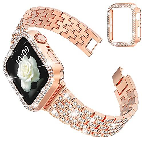 wlooo Ersatzarmbänder + Glitzer Diamant Hülle für Apple Watch 44mm 42mm 40mm 38mm, Bling Herren Damen Kristall Strass Einstellbarer Edelstahl Metall Armbänder für iWatch Series SE 6 5 4 3 2 1 Roségold