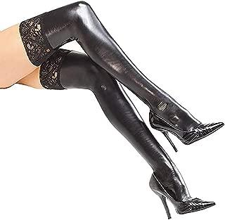 Damenstrümpfe, Lacklederstretch-Stretchstrümpfe, Sexspielzeuge Enge, Rutschfeste Strümpfe, Abschlussball-Party-Kostüme, Mit Anti-Rutsch-Streifen, Schwarz, Verstellbar