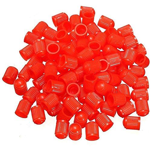 Dsycar Elegante Tapas de Válvula de Plástico Motocicleta Bicicleta Neumáticos de Coche Rueda Válvula Vástago Tapones de Polvo para Car Styling Decoración - 100 Unids/Lote- (Rojo)