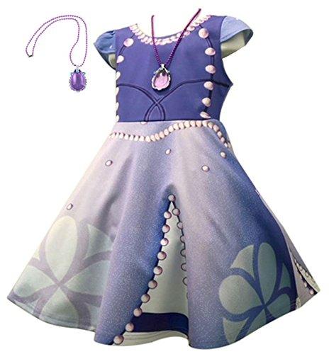 cheriy シェリー ソフィア 風 キッズ ワンピース ドレス プリンセスなりきり お姫様ドレス 転写プリント ディズニー テーマパーク パジャマ プレゼント ネックレス付き 2点セット 100㎝ 110㎝ 120㎝ 130㎝140㎝ 130㎝