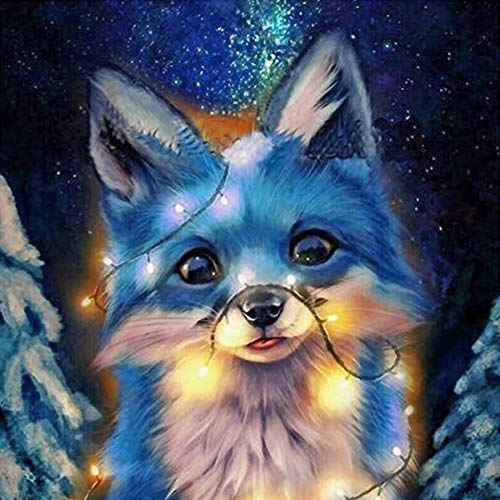 5D Diamond Painting Kits by Number Round Full Drill for Beginner Adult Kids for Home Wall Decor 12x16inch Goat Decoration Crystal Rhinestone Embroidery Art Craft (Fox)