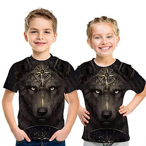 XSHUHANP Niños y niñas 3D Impresión Manga Corta Camiseta con Estampado De Lobo con Estampado De Animales En 3D para Niños Tops De Verano para Niños Camiseta para Niñas, Niños, Ropa Informal para BEB