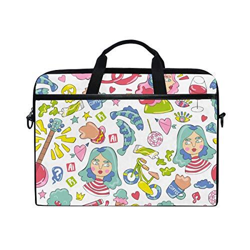BEITUOLA 15-15.4 Zoll Laptop Taschen,Mädchen Gitarren Kaffeetasse Bonbon Fische,Verschiedene Muster multifunktionale Laptop Tasche tragbare Hülle Aktentasche Umhängetasche