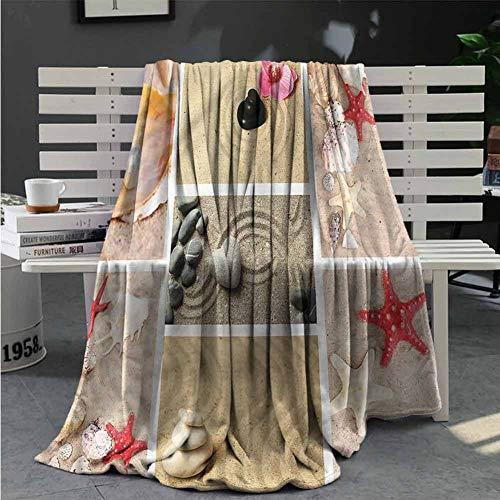 Luoiaax Tropical Faux Fleece Throw Blanket Japanese Garden Collage Queen Size Blanket Soft Warm W59 x L70.5 Inch