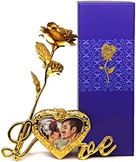 MSA JEWELS Artificial Victoria Love Story Rose And Gift Box And And Love Stand (Gold, 1 Piece)