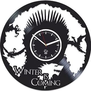 Kovides Vinyl Wall Clock, Game of Thrones, Mother of Dragons Targaryen, Vinyl Record Clock, Best Gift for Her, Home Art Decor, Vinyl Wall Clock Silent, Wall Clock Large