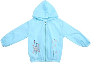 ANJUY Baby Flower Embroidery Sunscreen Costumes Kid Wind UV Hooded Jacket