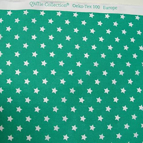 TOLKO 50cm Baumwollstoff Meterware | der Klassiker zum Nähen Dekorieren | Reine Oeko-Tex Baumwolle | weicher Baumwoll-Nesselstoff als Kleiderstoff Dekostoff Bezugsstoff (Grün Weiß Sterne)