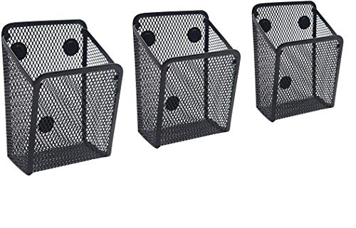 3 pcs Magnetic Pencil Holder, Strong Magnets Mesh Storage Baskets for Whiteboard, Refrigerator and Locker Accessories