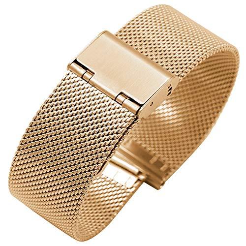 RHBLHQ Ver Banda Tejido de Acero Inoxidable Correa de Correa 16 mm 18 mm 20 mm 22 mm de Acero Cinta de Malla Tejido Accesorios Reloj (Color : Rosegold, Size : 18mm)