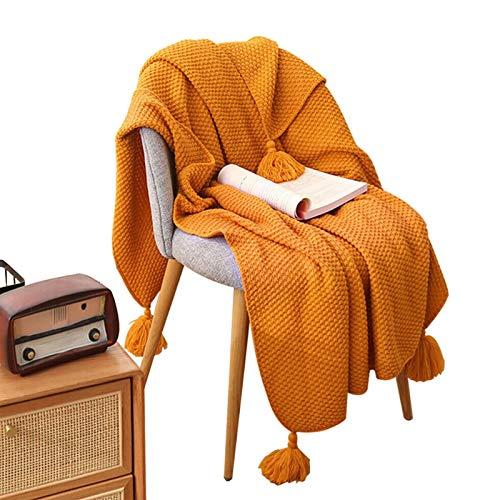 Buyfunny01 - Manta nórdica con borla, tejido nórdico con borla, para sofá cama, sillón, colcha, de punto, para decoración del hogar (150, 110 cm), color naranja