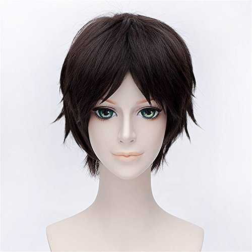 LanTing Attack on Titan Eren Jaeger Dark Brown Short Styled Woman Cosplay Party Fashion Anime Wig