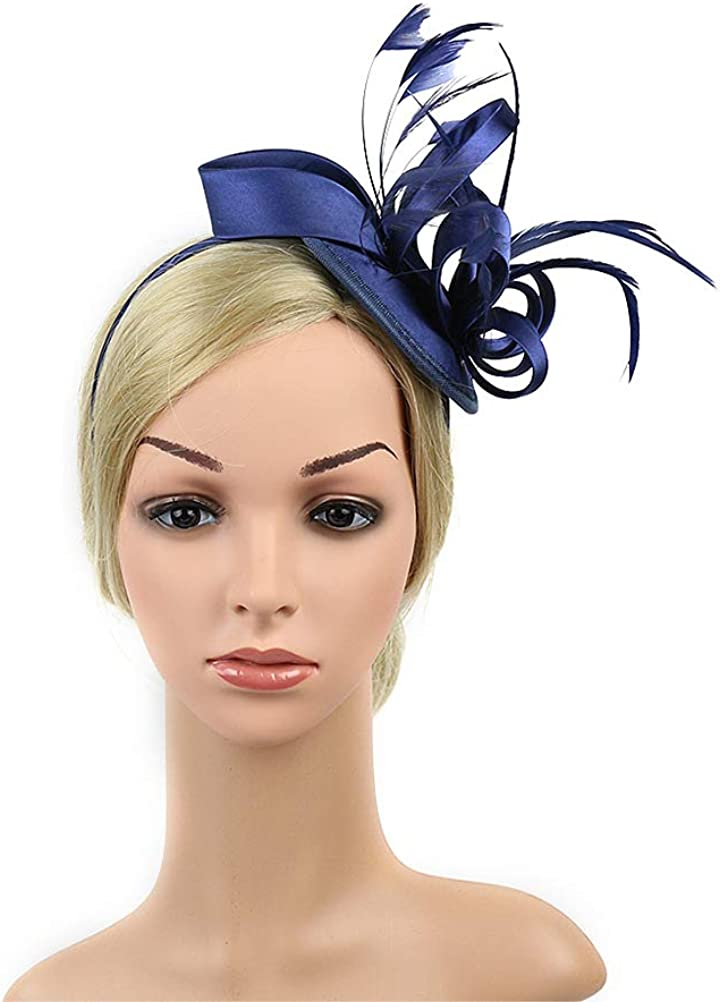 LUOEM Fascinators Hat Tea Party Wedding Headwear Ribbons Feathers on a Headband and a Clip for Girls and Women(Navy)