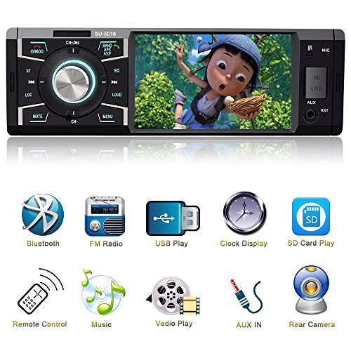 Indash Car Stereo with Bluetooth Single Din FM Radio for Car and MP5 Player USB/SD/AUX/FM Receiver Wireless Remote Control …